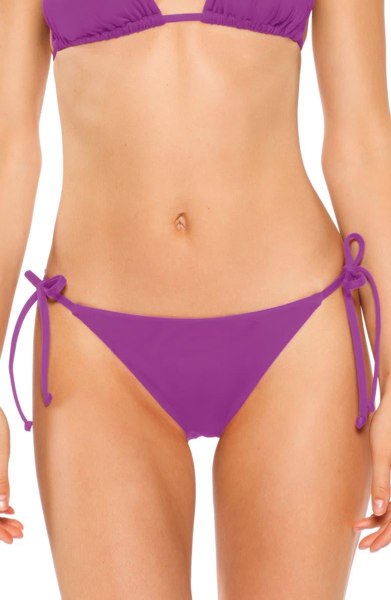 BECCA Color Code Side Tie Bikini Bottoms, Main, color, DAHLIA