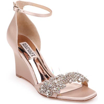 Badgley Mischka Aliyah Embellished Ankle Strap Wedge Sandal, Beige