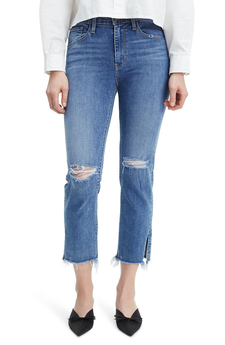 LEVI'S<SUP>®</SUP> 724<sup>™</sup> Ripped High Waist Raw Edge Crop Jeans, Main, color, SPLIT DECISION