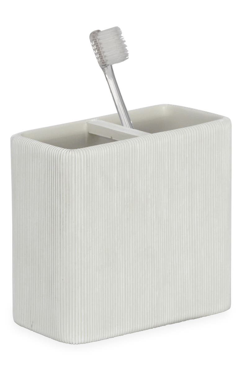 DKNY Fine Lines Ceramic Toothbrush Holder, Main, color, WHITE