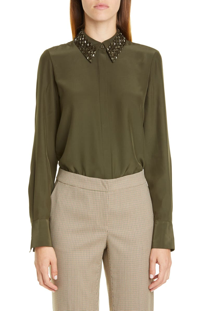 LAFAYETTE 148 NEW YORK Julianne Silk Blouse with Detachable Collar, Main, color, SYCAMORE GREEN