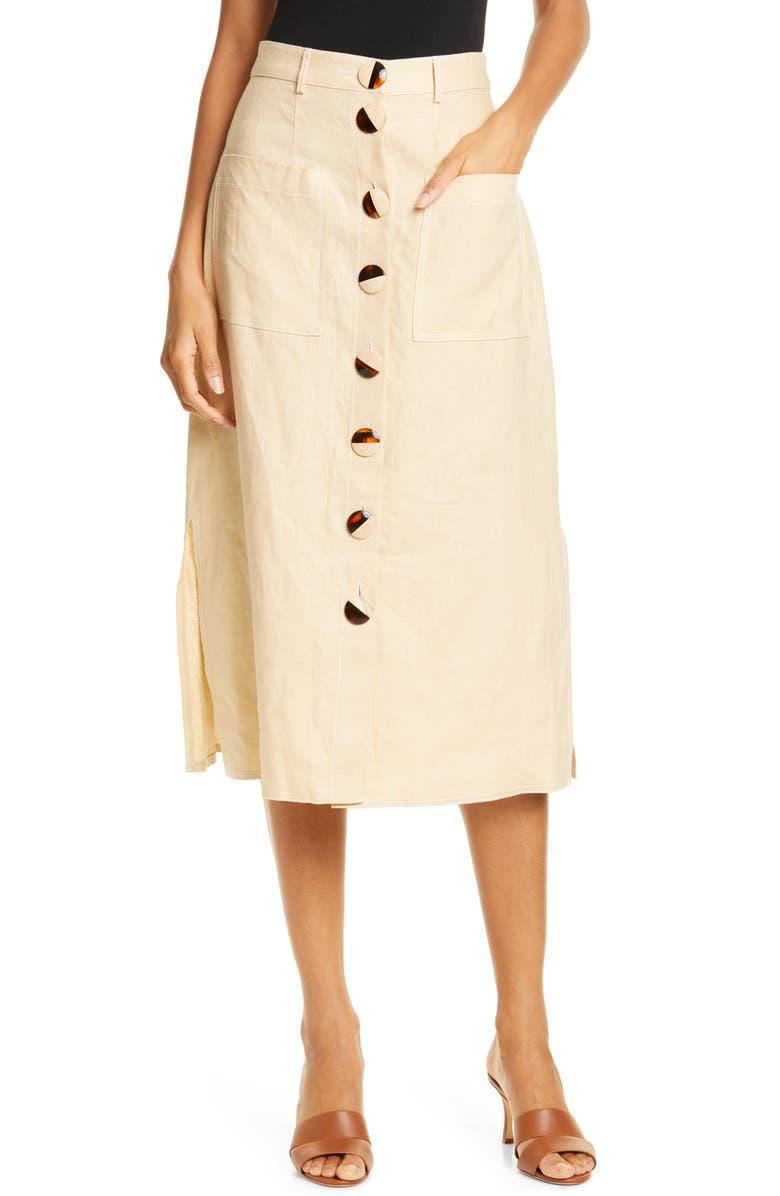 NICHOLAS Button Front Linen Midi Skirt, Main, color, CHAMPAGNE