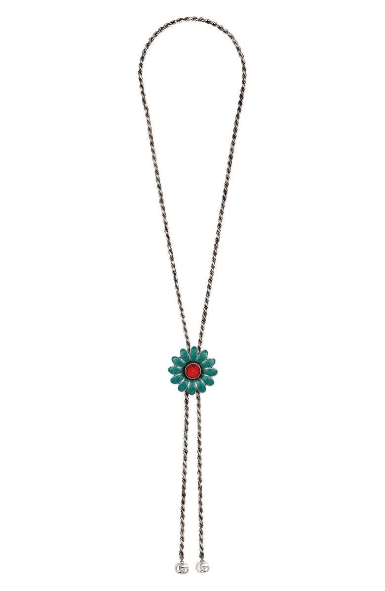 b9da62d71 GG Marmont Bolo Necklace, Main, color, STERLING SILVER