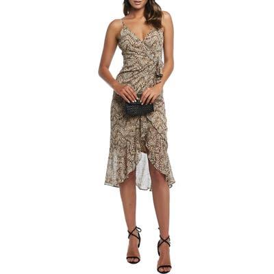 Bardot Ellie Faux Wrap Chiffon Dress, Brown