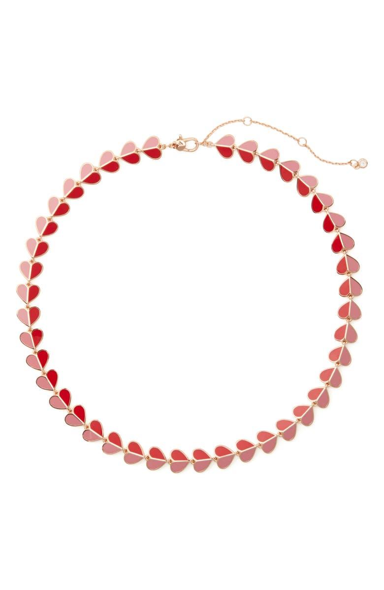 KATE SPADE NEW YORK heritage spade heart collar necklace, Main, color, 650