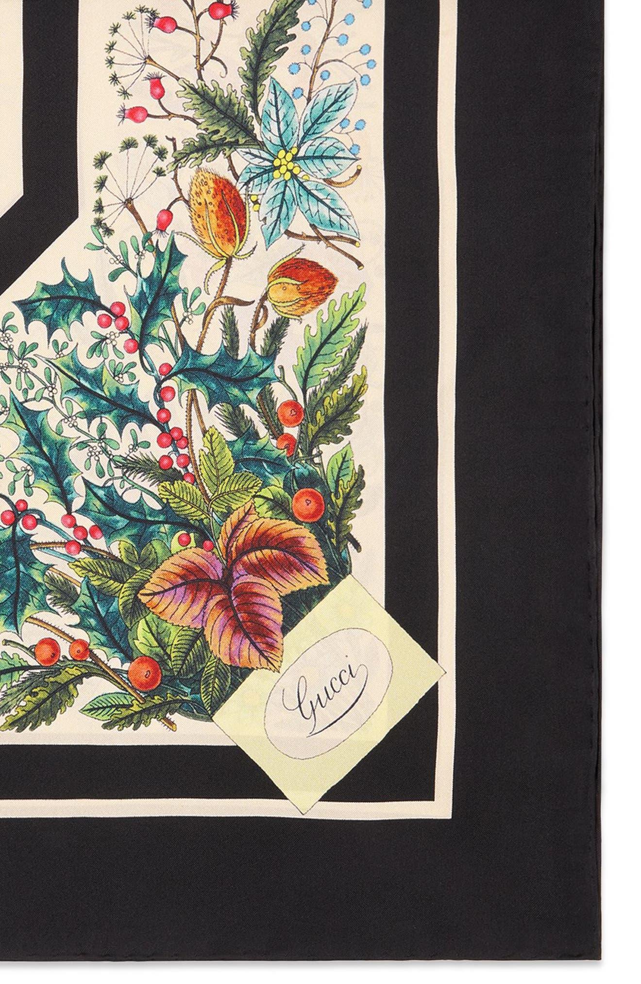 ,                             Festival Floral Square Silk Scarf,                             Alternate thumbnail 2, color,                             BLACK/ IVORY