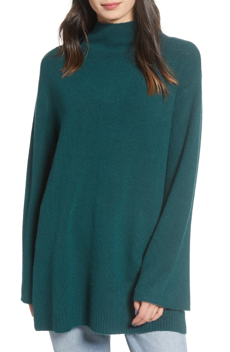 CHELSEA28 Mock Neck Tunic, Main, color, GREEN PONDEROSA