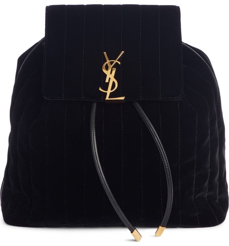 SAINT LAURENT Vicky Quilted Velvet Backpack, Main, color, 001