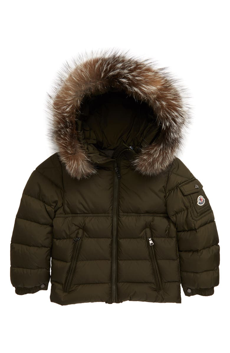 MONCLER Byron Water Resistant Down Hooded Puffer Jacket with Genuine Fox Fur Trim, Main, color, DARK GREEN