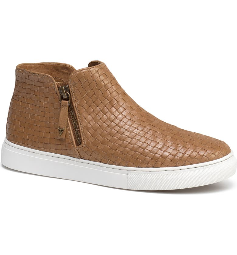 TRASK Lora Woven Sneaker Bootie, Main, color, TAN LEATHER