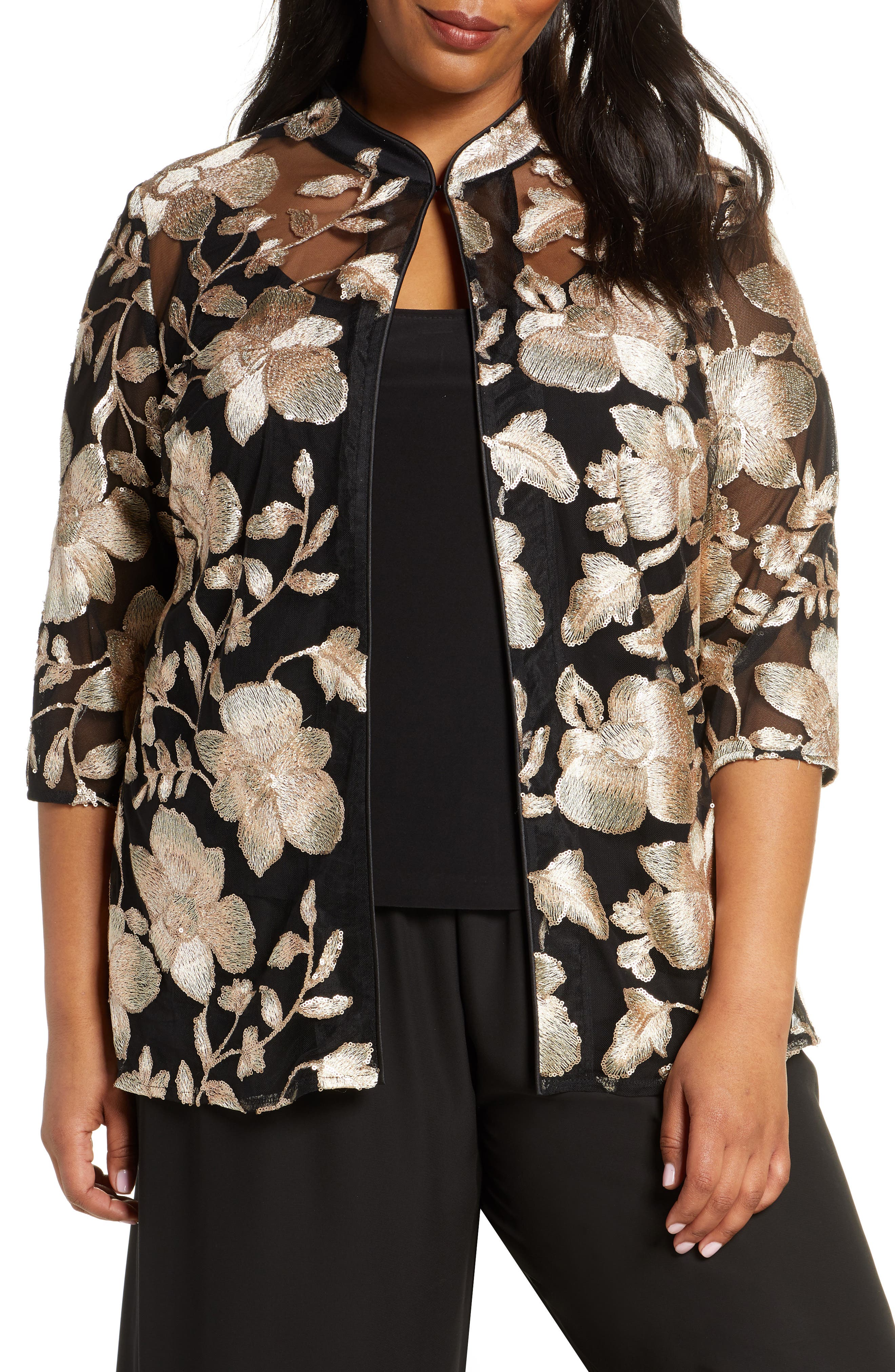 Plus Size Alex Evenings Embroidered Jacket & Camisole Set, Black