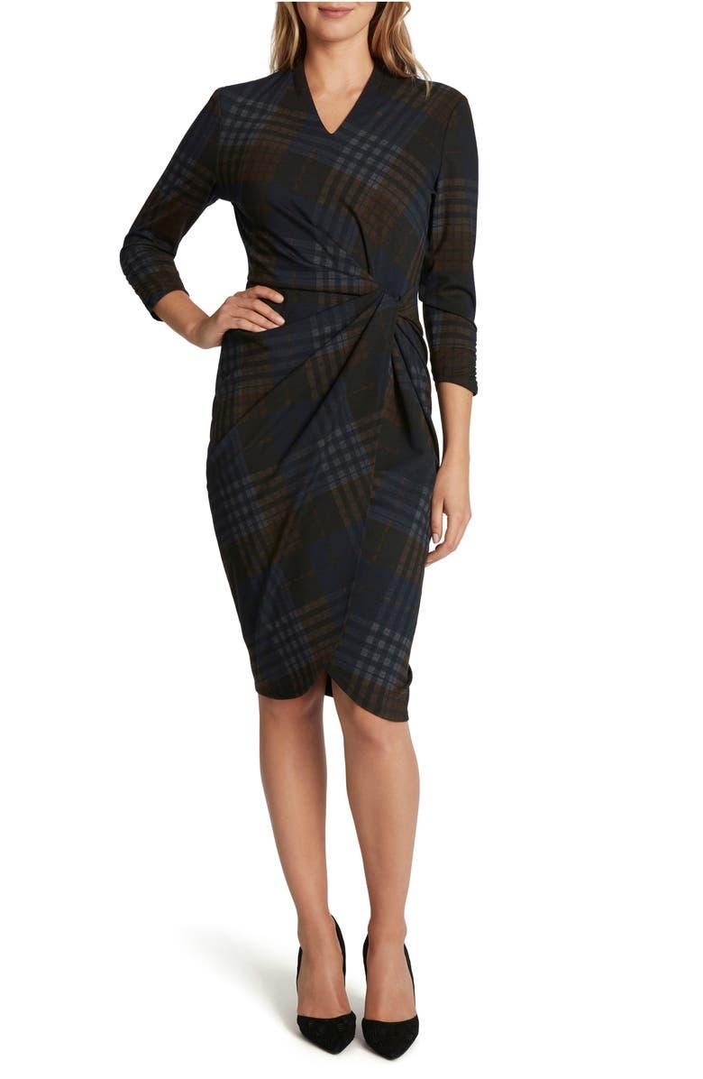 TAHARI Plaid V-Neck Sheath Dress, Main, color, NAVY RUST PLAID