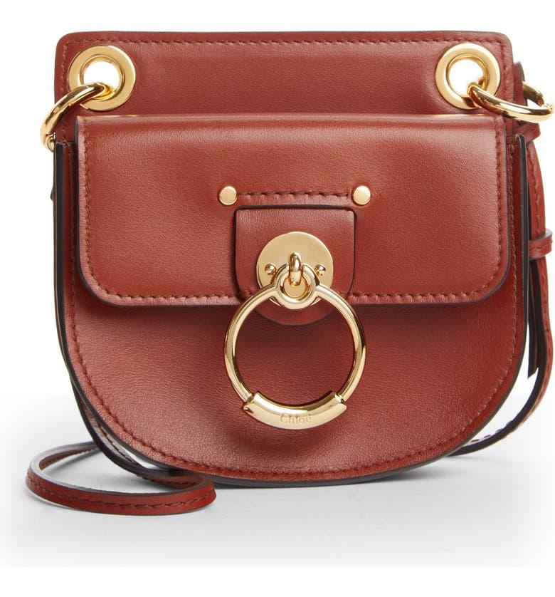 CHLOÉ Mini Tess Leather Crossbody Bag, Main, color, SEPIA BROWN