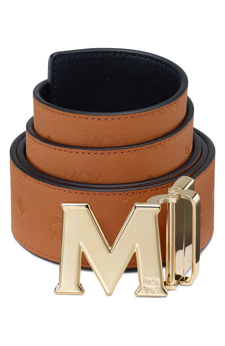 MCM Reversible Leather Belt, Main, color, COGNAC