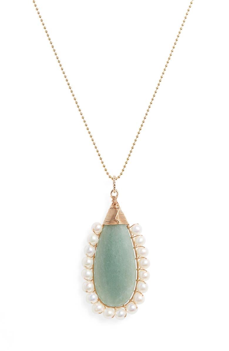 BECK JEWELS Lolita Green Aventurine & Freshwater Pearl Pendant Necklace, Main, color, GREEN AVENTURINE