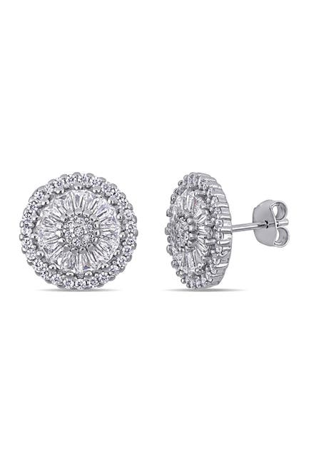 Image of Delmar Sterling Silver CZ Round Stud Earrings