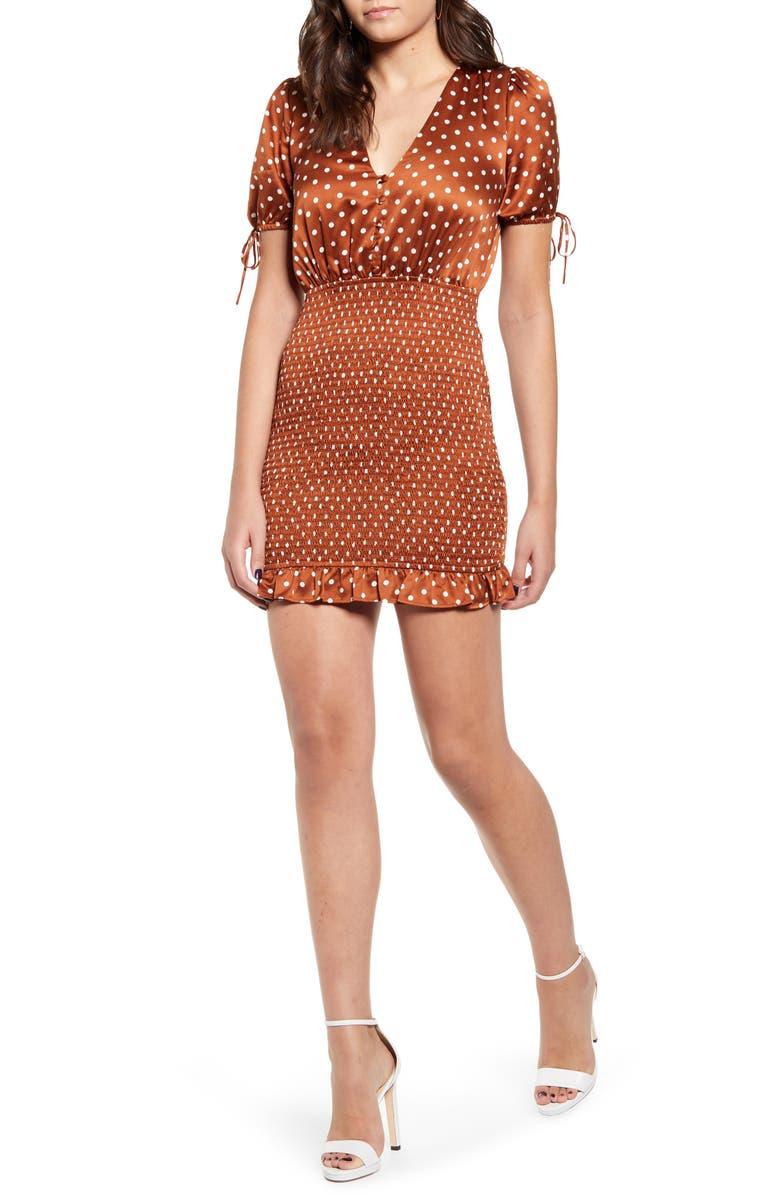 J.O.A. V-Neck Minidress, Main, color, RUST DOT
