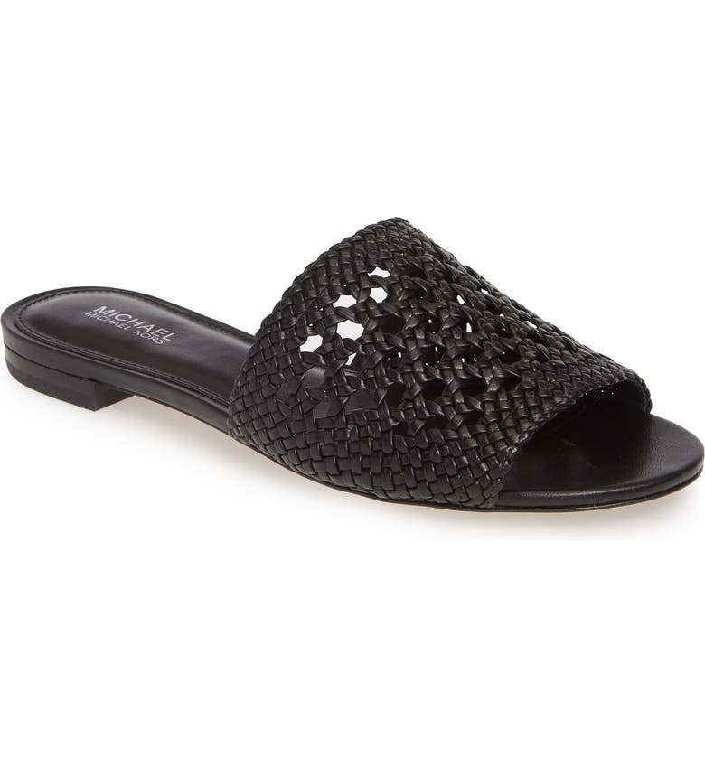 MICHAEL MICHAEL KORS Augustine Cane Weave Slide Sandal, Main, color, BLACK