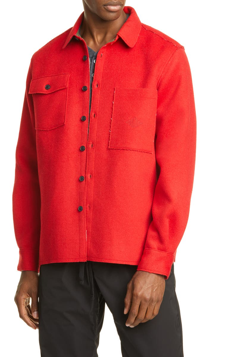 OVADIA & SONS Ike Military Wool Blend Flannel Overshirt, Main, color, RED