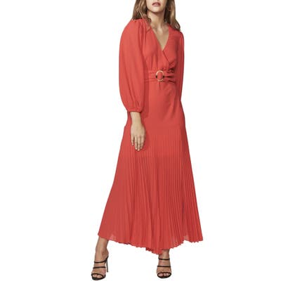 Bardot Daytona Long Sleeve Maxi Dress, Red