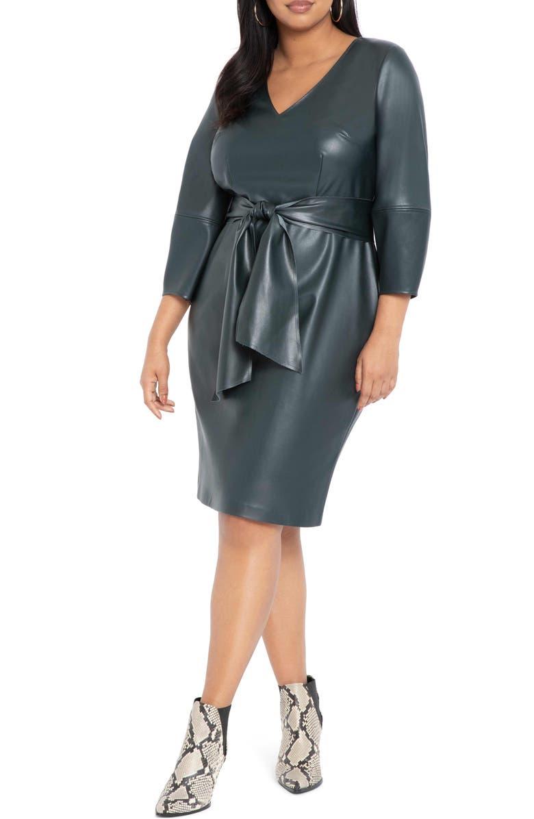 ELOQUII Lantern Sleeve Faux Leather Dress, Main, color, 020