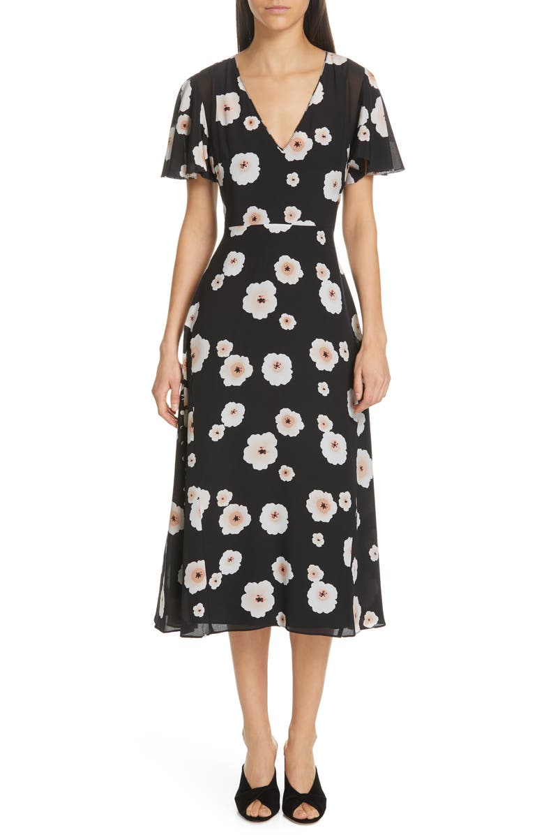 CLUB MONACO Zameeka Floral Print Silk Midi Dress, Main, color, 001