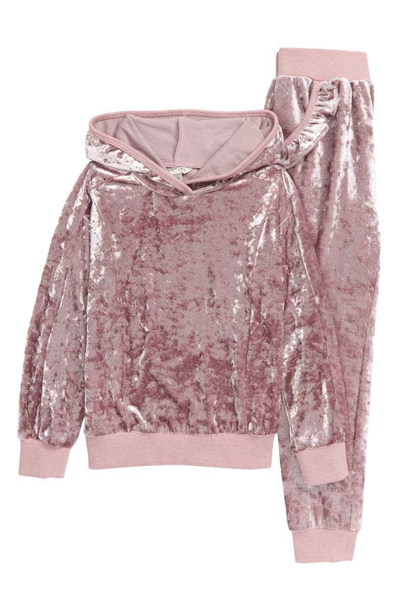 HABITUAL Drew Crushed Velour Hoodie & Sweatpants Set, Main, color, LIGHT PINK