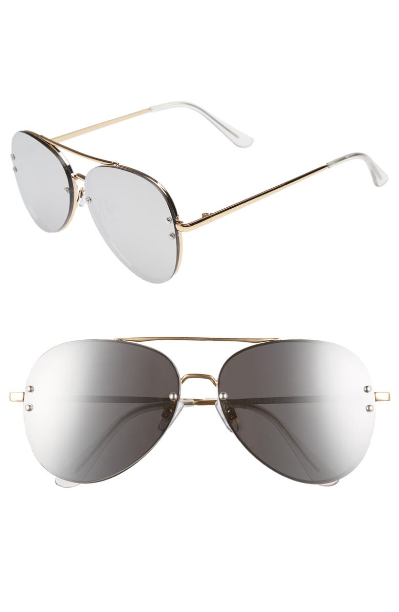 BP. 60mm Oversize Mirrored Aviator Sunglasses, Main, color, GOLD/ SILVER