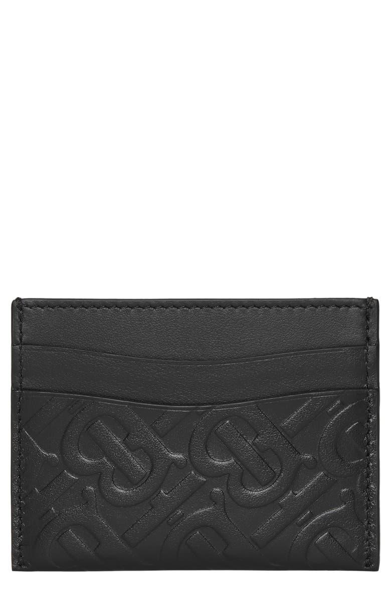 BURBERRY Monogram Leather Card Case, Main, color, BLACK