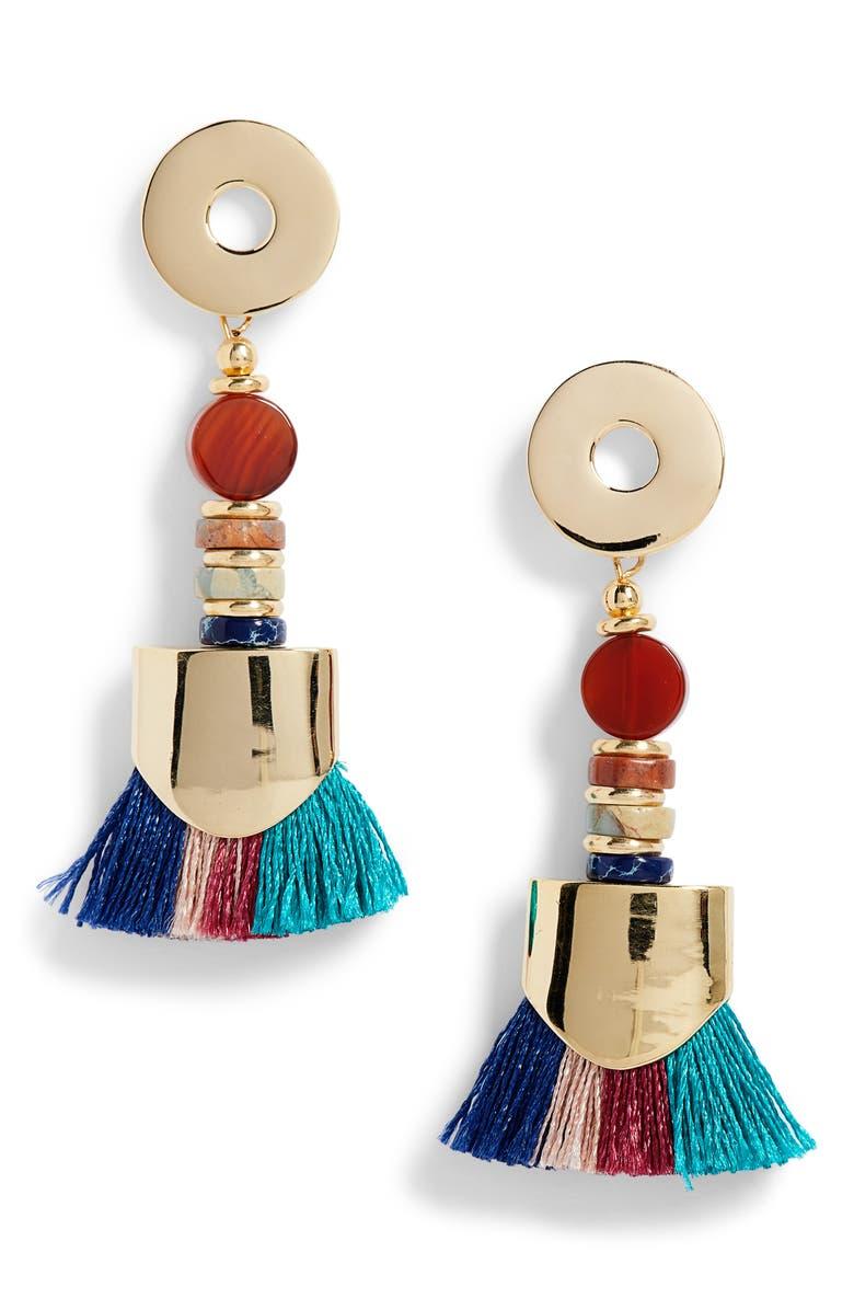 NECTAR NECTAR Ancient Agate Tassel Earrings, Main, color, AGATE/ GOLD