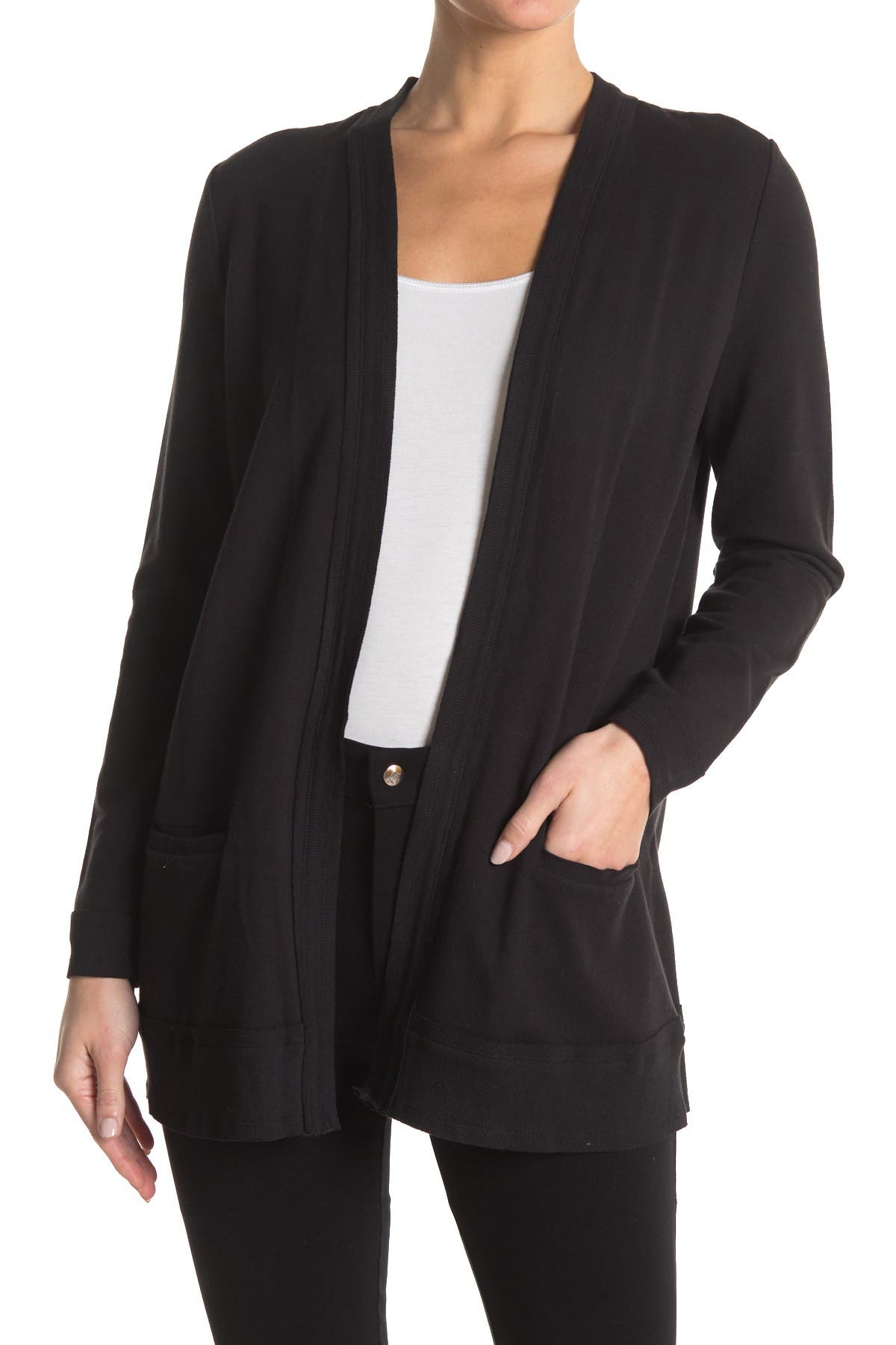 Image of T Tahari Long Sleeve French Terry Cardigan