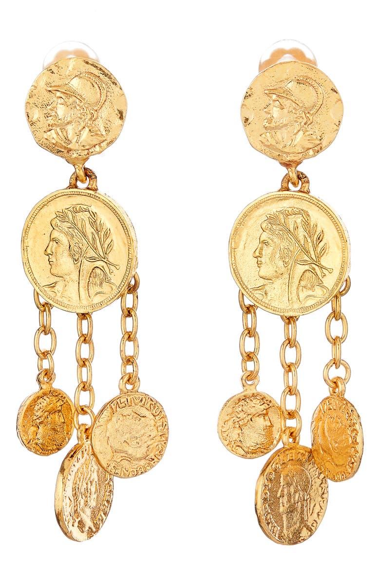 OSCAR DE LA RENTA Coin Chandelier Clip-On Earrings, Main, color, 710