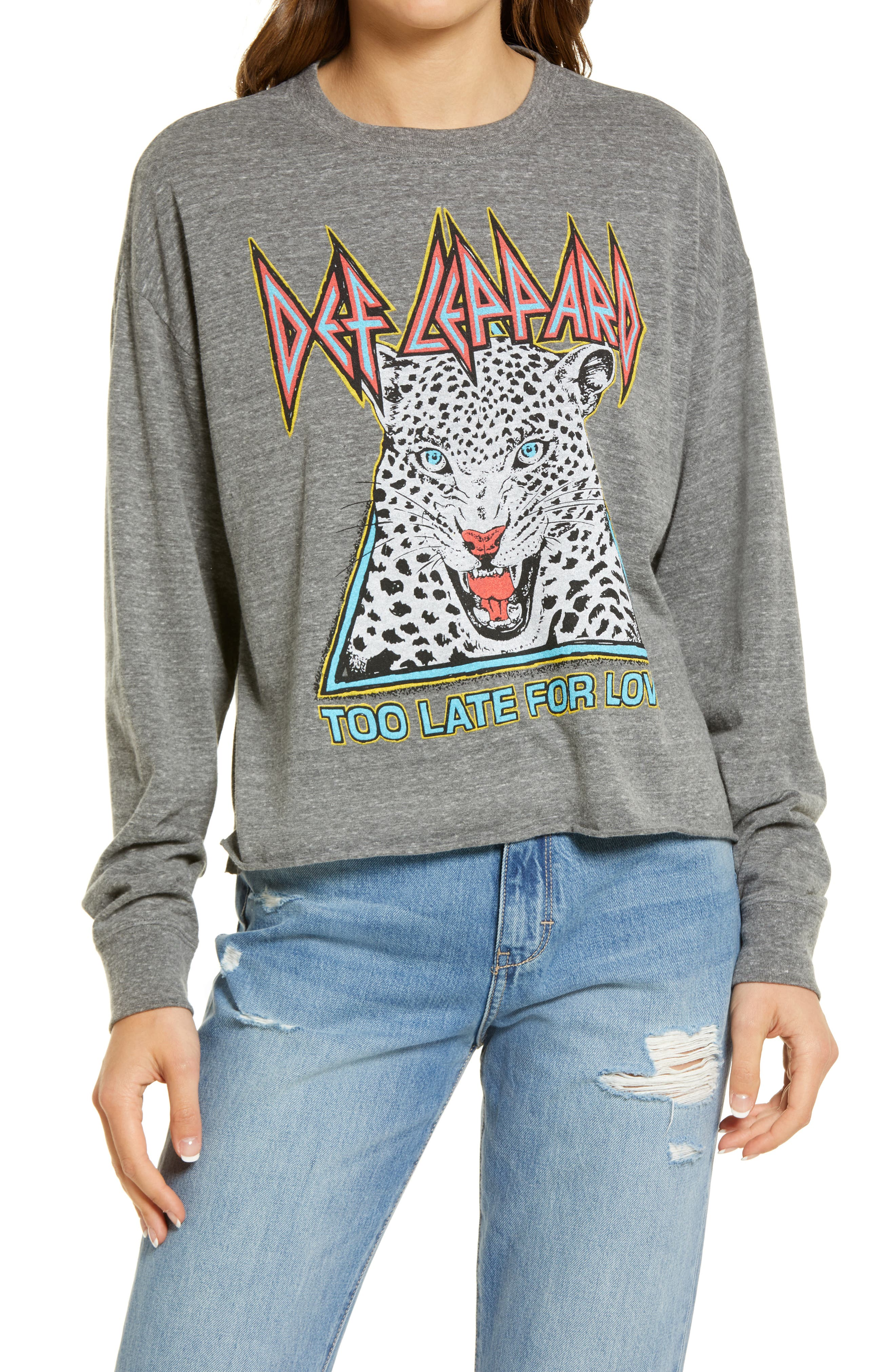Women's Def Leppard Too Late For Love Long Sleeve Crop Graphic Tee