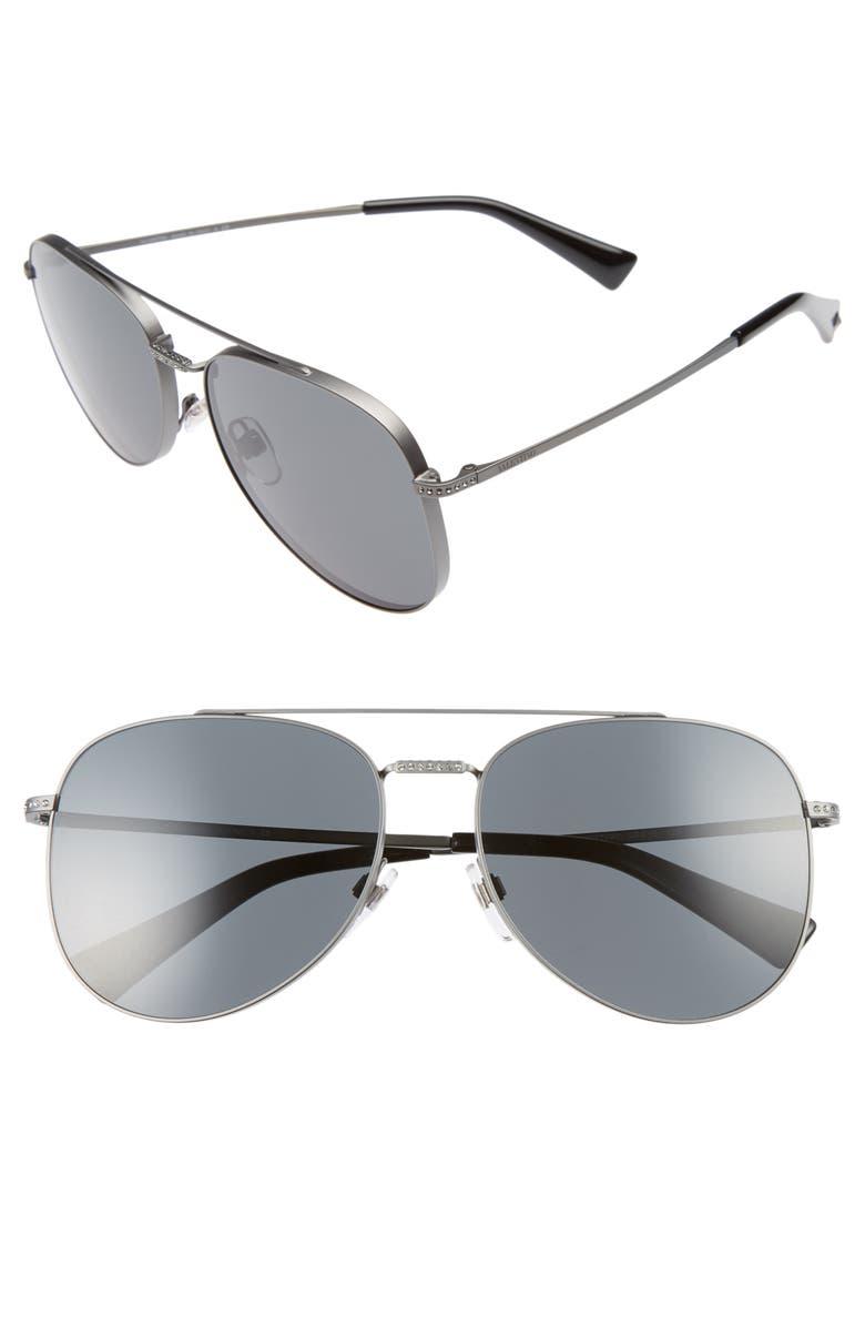 VALENTINO 56mm Aviator Sunglasses, Main, color, 040