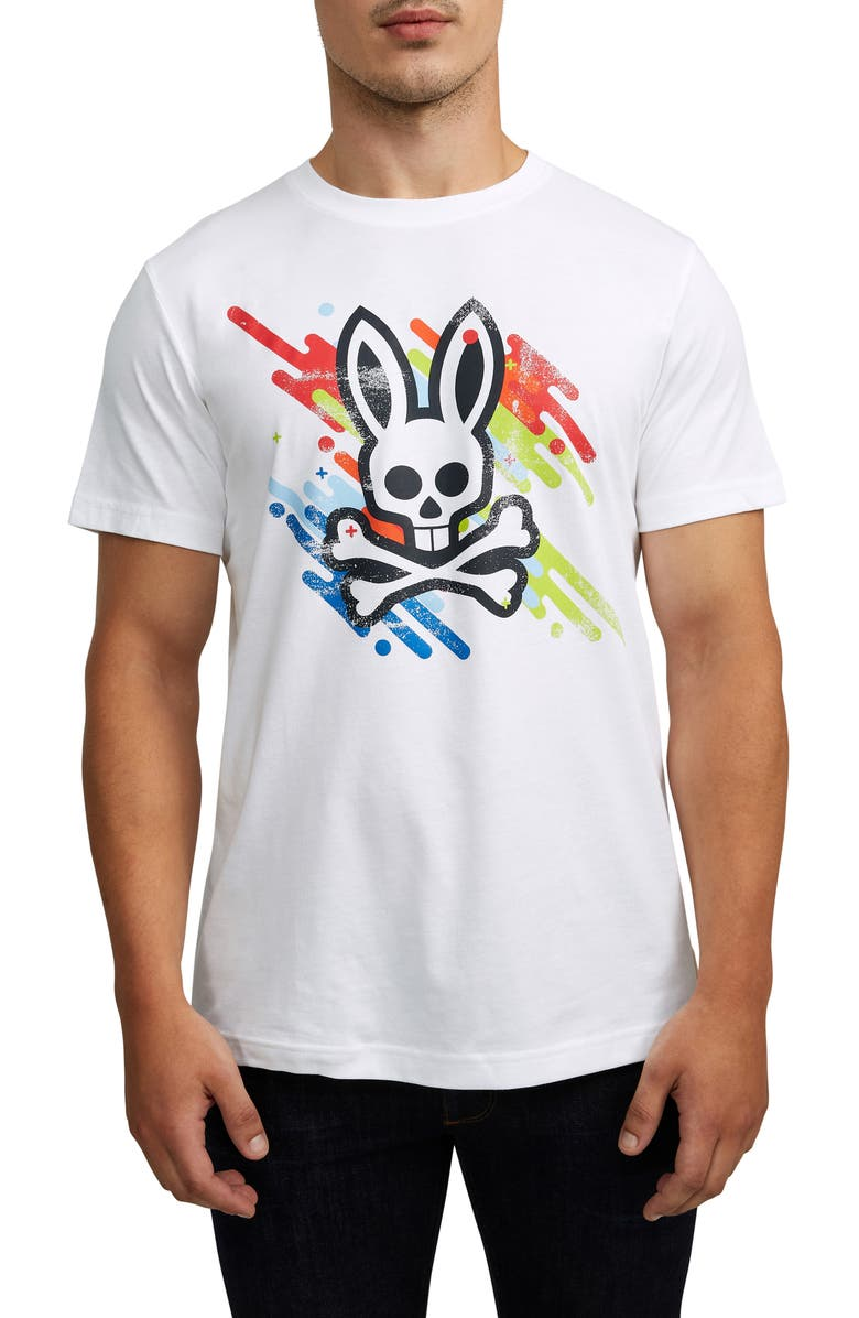 PSYCHO BUNNY Florio Graphic T-Shirt, Main, color, WHITE