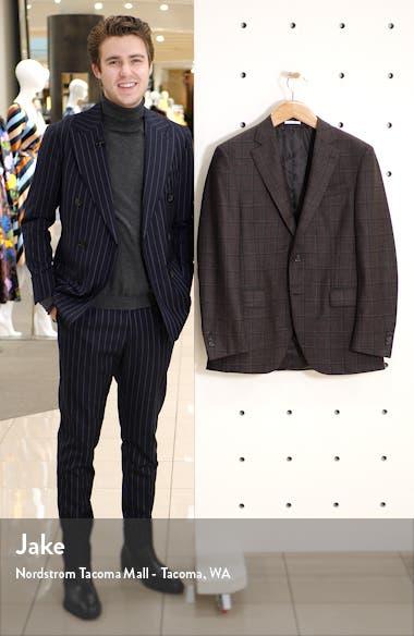 Flynn Classic Fit Windowpane Silk & Wool Sport Coat, sales video thumbnail