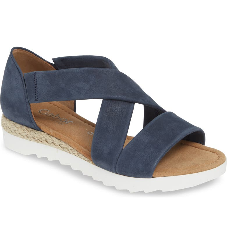 GABOR Cross Strap Sandal, Main, color, BLUE NUBUCK LEATHER