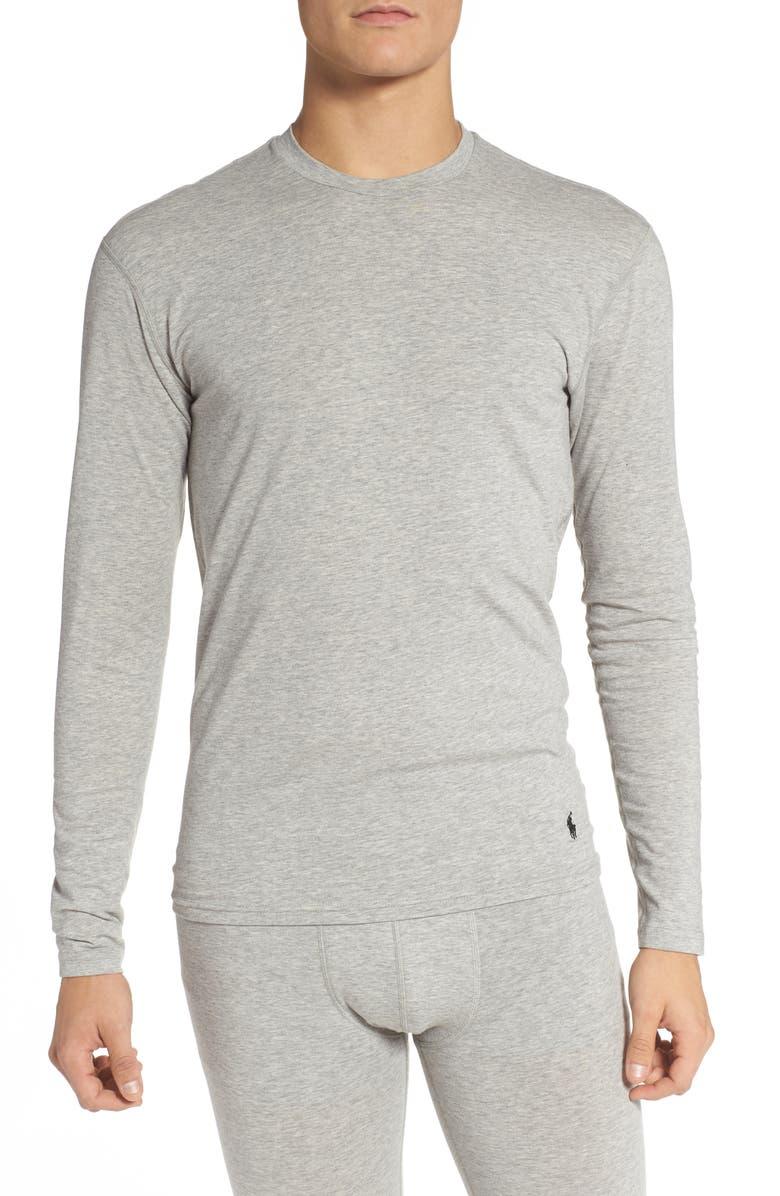 POLO RALPH LAUREN Crewneck Long John Undershirt, Main, color, ANDOVER HEATHER