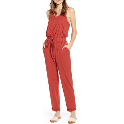 Caslon Cinched Back Sleeveless Jumpsuit, Brown