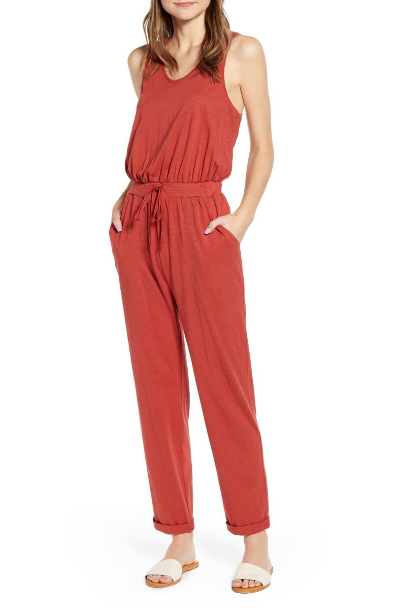 CASLON<SUP>®</SUP> Cinched Back Sleeveless Jumpsuit, Main, color, RUST CINNABAR