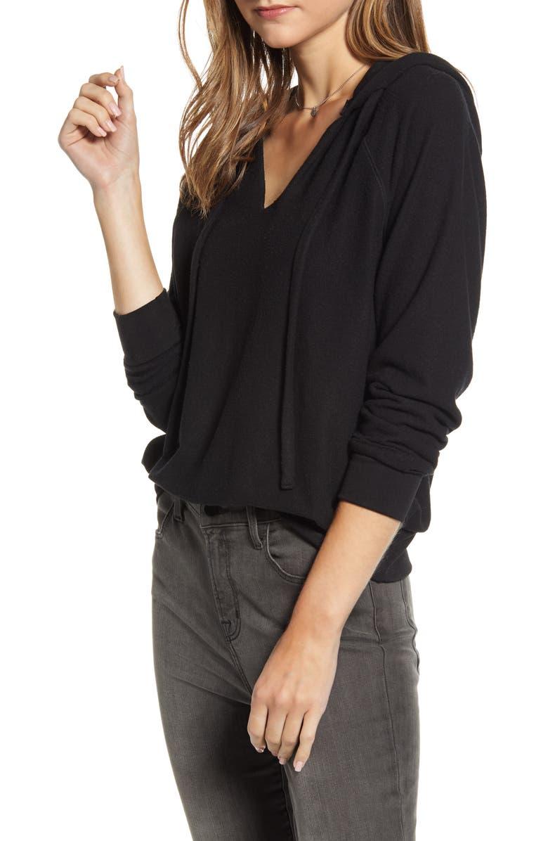 TREASURE & BOND Cozy V-Neck Hooded Sweatshirt, Main, color, BLACK