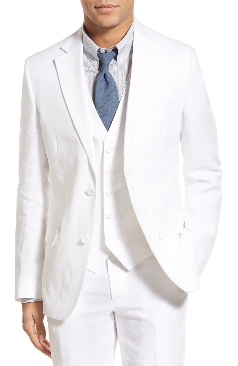 NORDSTROM MEN'S SHOP Classic Fit Linen Blazer, Main, color, 100