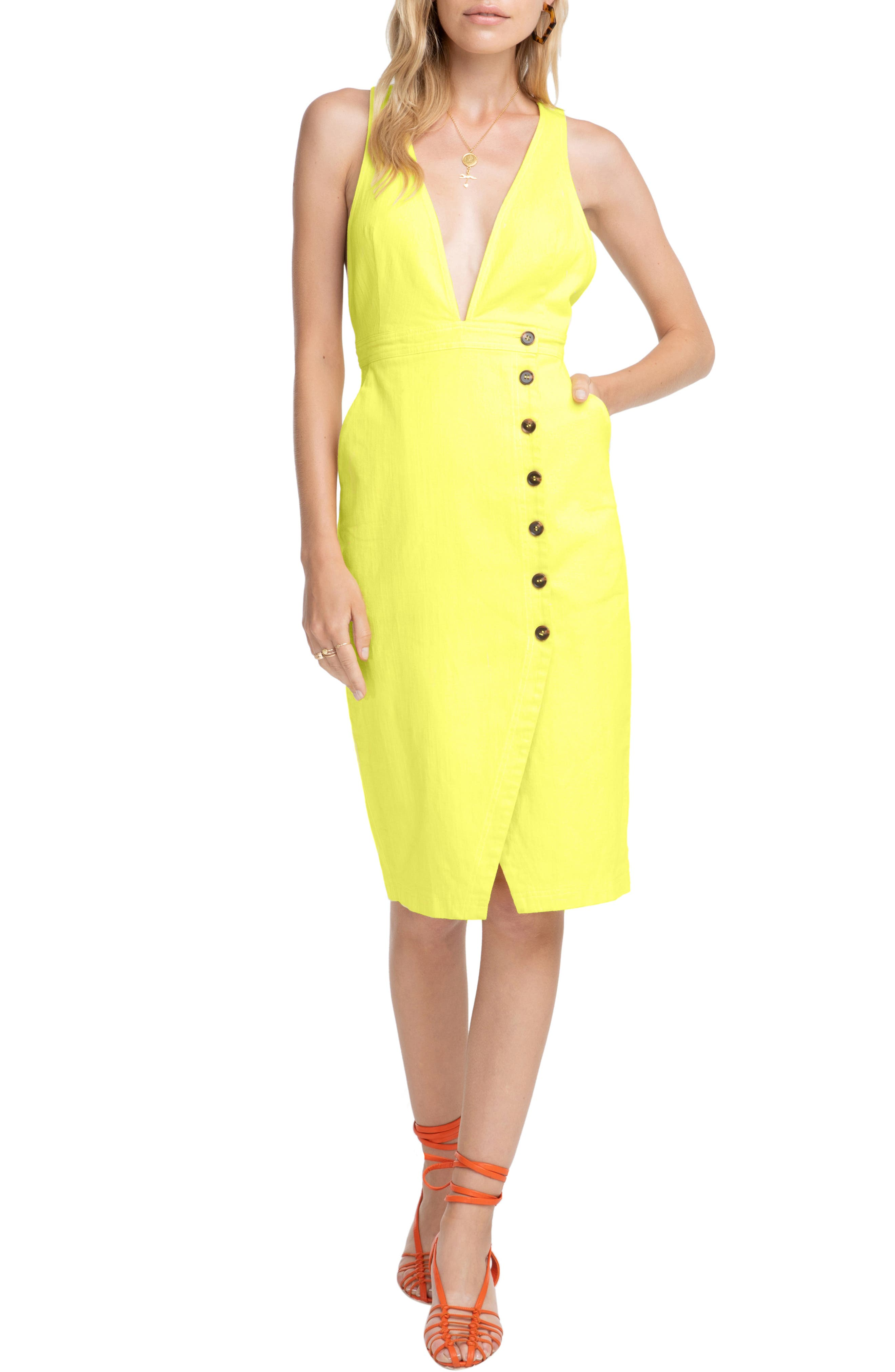 Astr The Label Plunge Neck Button Detail Stretch Cotton Dress, Yellow