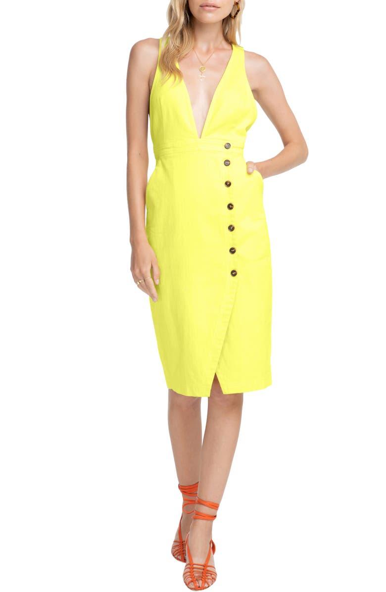 ASTR THE LABEL Plunge Neck Button Detail Stretch Cotton Dress, Main, color, 700