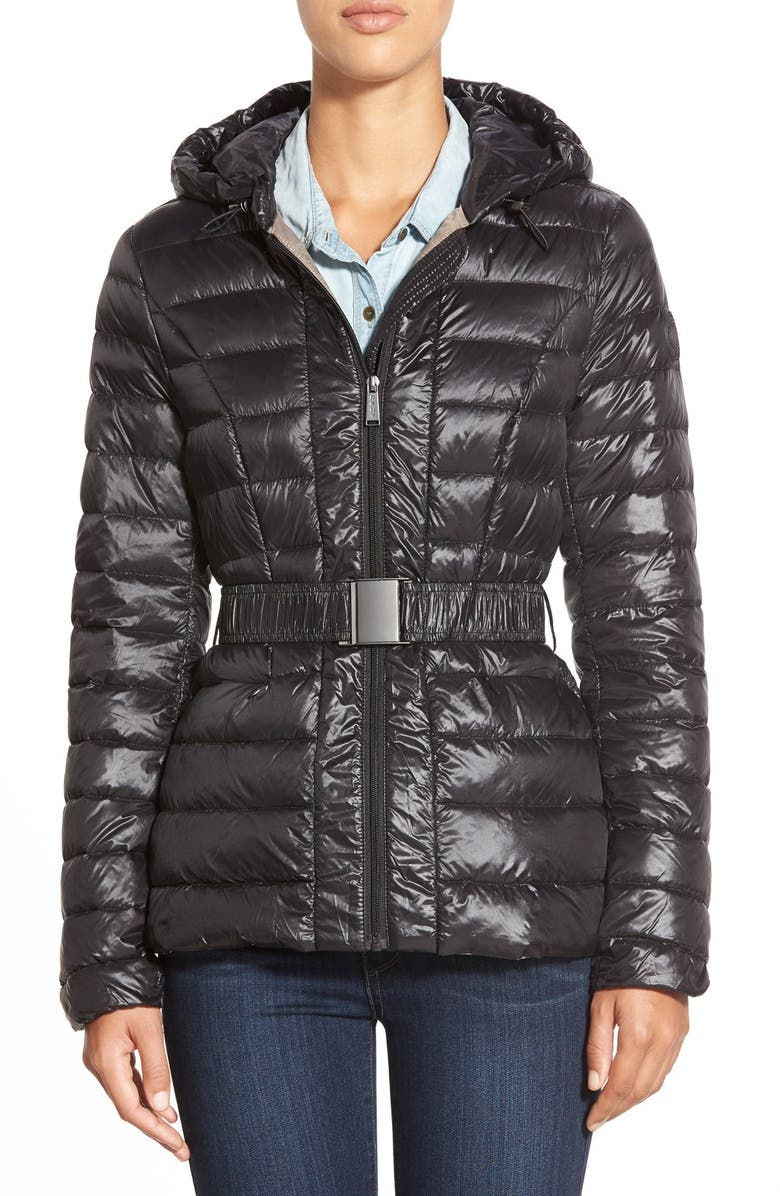 DKNY Packable Belted Hooded Down Jacket, Main, color, 001