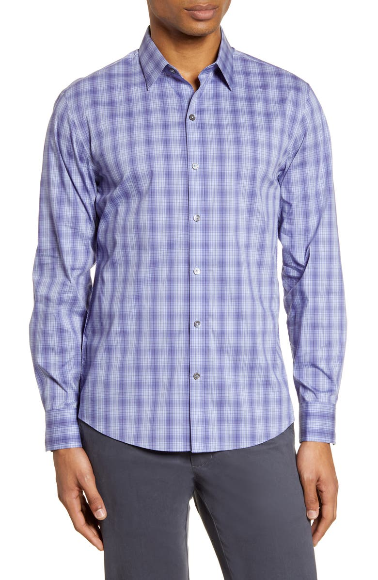 ZACHARY PRELL Sedore Plaid Button-Up Shirt, Main, color, PURPLE
