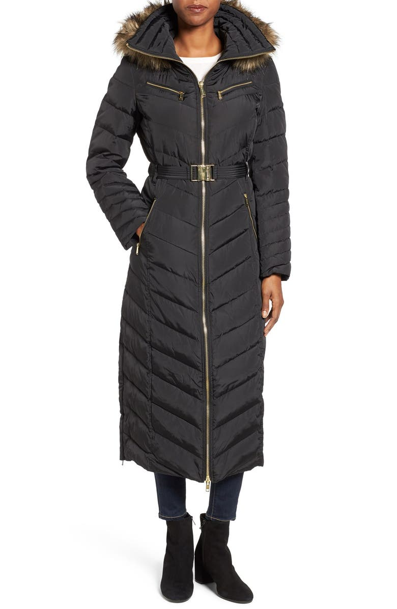 MICHAEL Michael Kors Belted Down & Feather Fill Long Coat ...