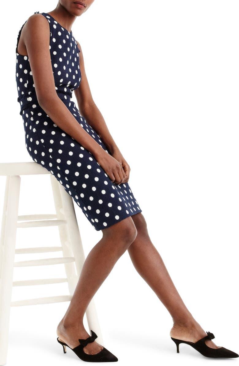J.CREW Spot Tweed Sheath Dress, Main, color, 470