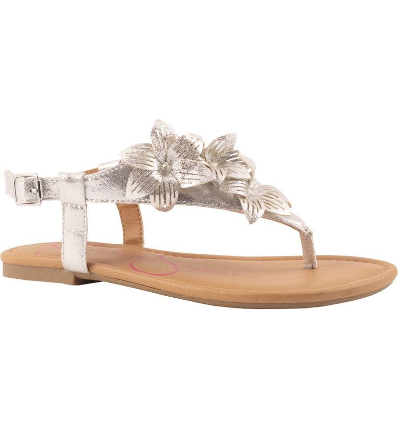 JESSICA SIMPSON Giana Floral Metallic Sandal, Main, color, SILVER