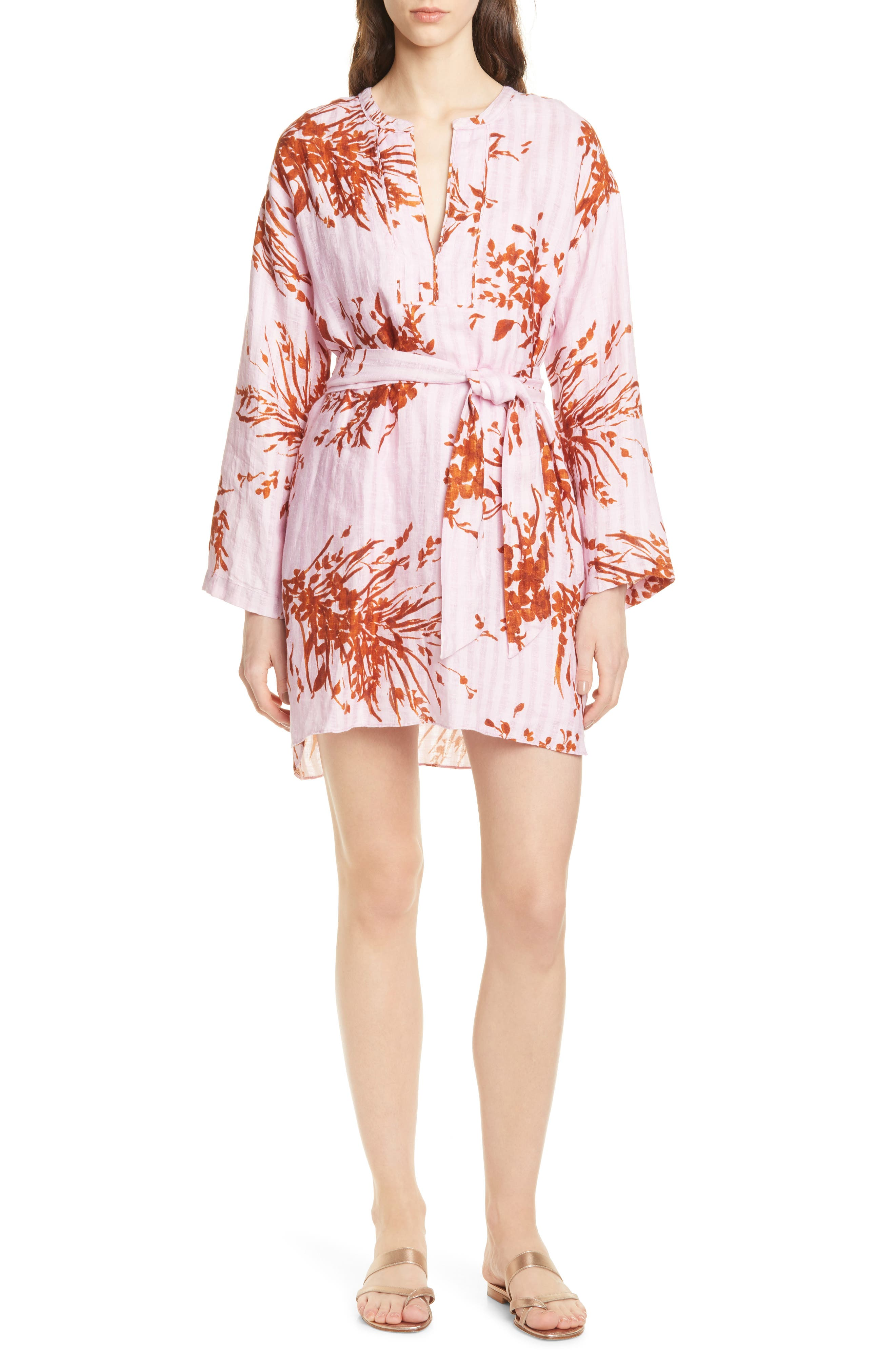 Joie Sunanda Long Sleeve Linen Minidress, Purple